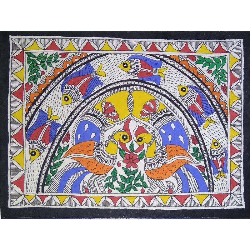 Madhubani Duck With Fish Painting