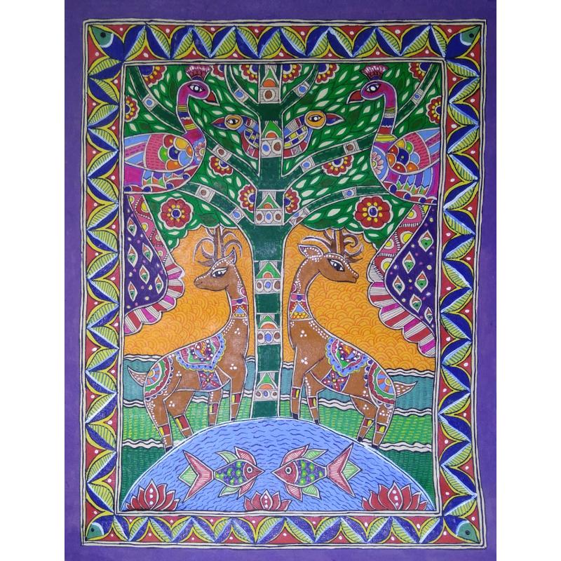 Madhubani Animals With Birds Painting