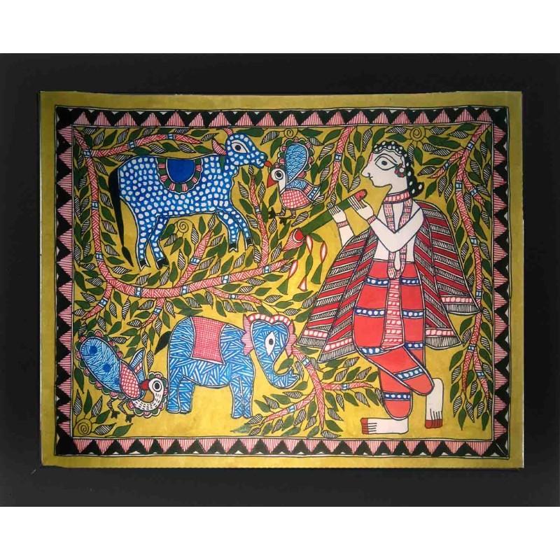 Madhubani Krishna With Cow Painting