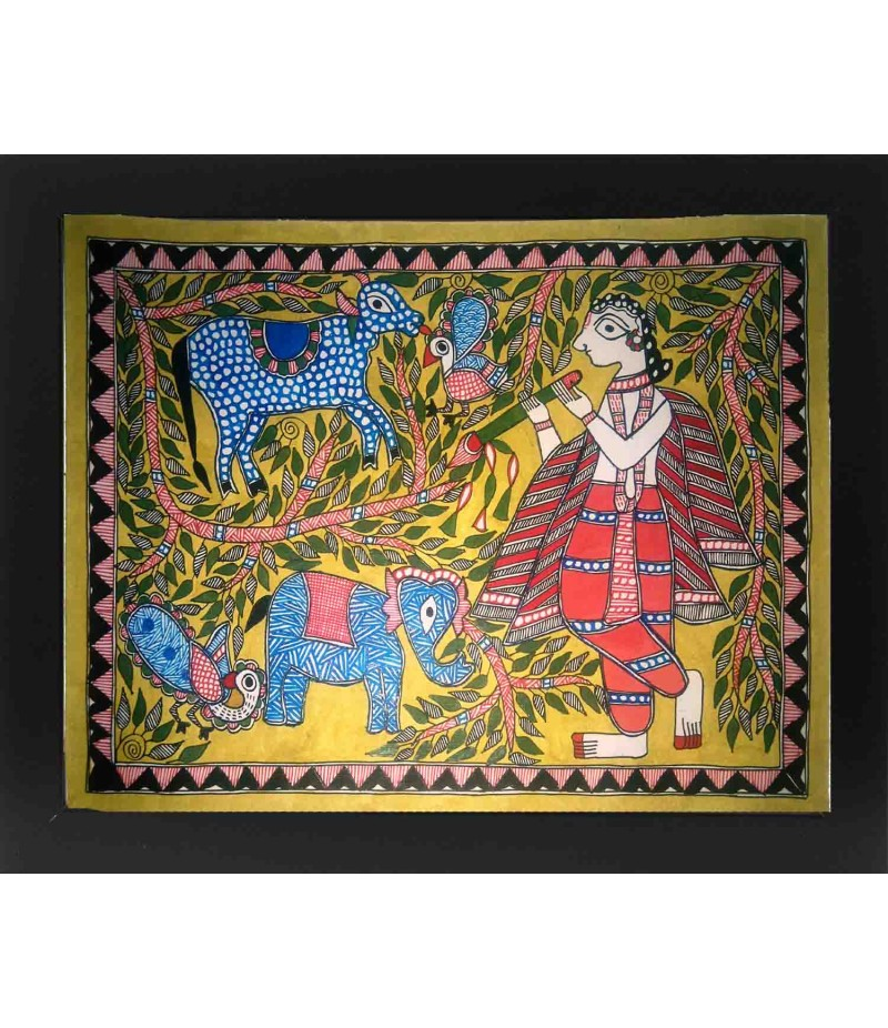Madhubani Krishna With Cow Painting