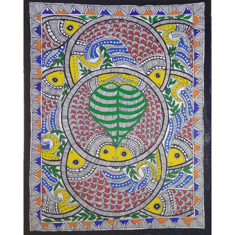 Madhubani Fish Painting